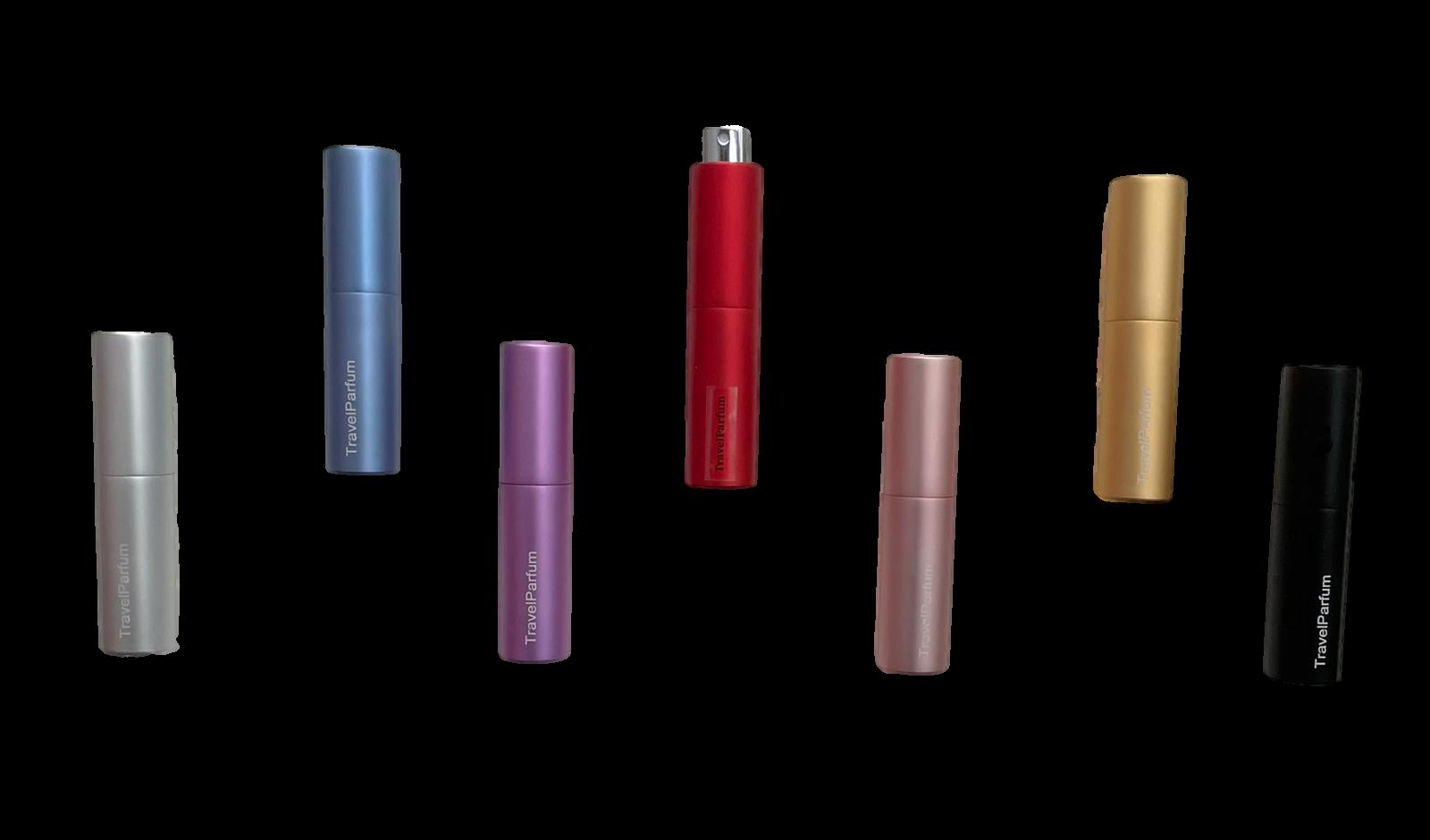 Een overzicht van onze kleuren luxe reisflacons met favoriete parfum